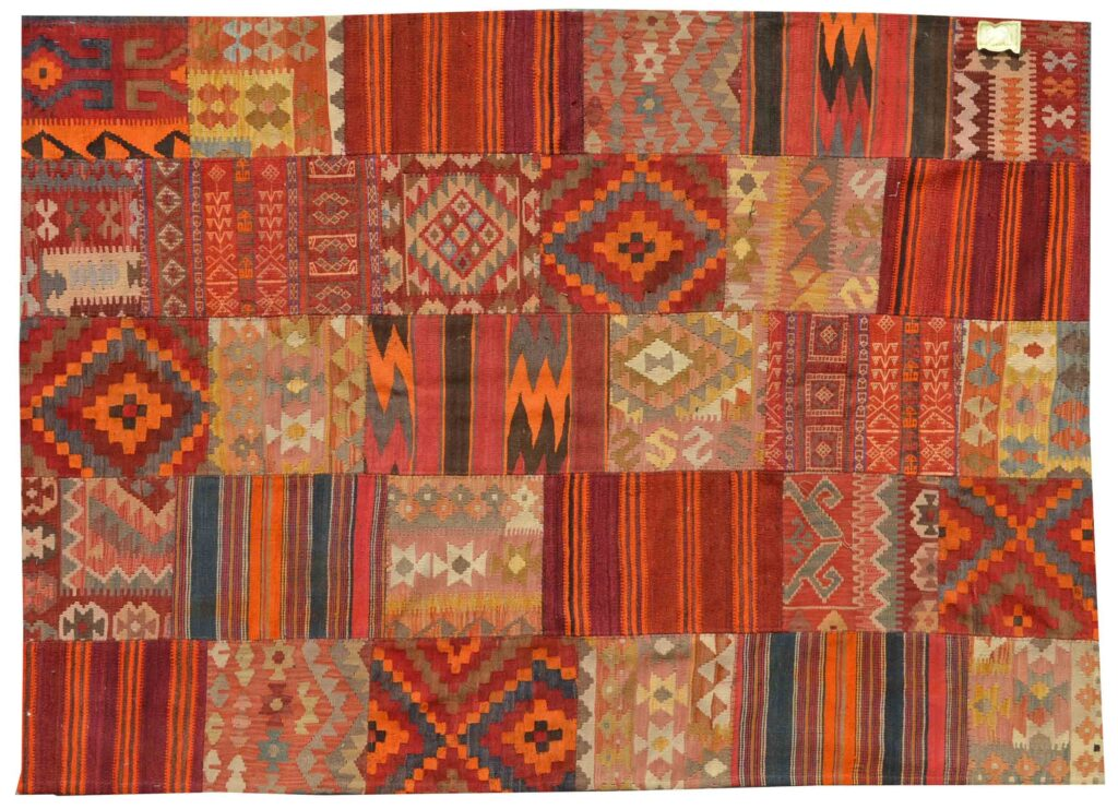 Orange Patchwork Kilim Rug