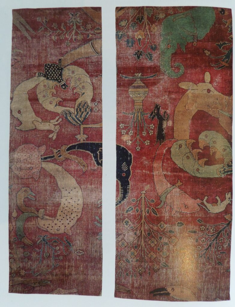 Fantastic red antique rug with animal figures hand woven
